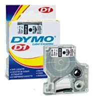 Dymo 071701450203 0.5 inches x 23 Feet D1 Standard Tape Cartridge - White on clear
