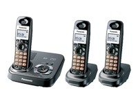 Panasonic KX TG9333T Cordless phone Call Waiting Caller ID Answering system Speakerphone DECT Black metallic 2 additional handset s KX TG9333T