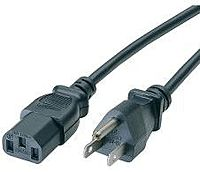 Cables to Go 03130 6 Feet Power Cable Power IEC 320 EN 60320 C13 Female Power USA 3 pole Male Black