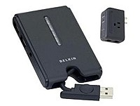 Belkin PocketHub B5U-034 USB Hub with Travel Surge Protector and Hidden Swivel Plug - USB 2.0 - 4 Ports - Gray