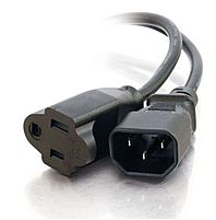Cables To Go 03149 15 Feet 18 AWG Monitor Power Adapter Cord - Nema 5-15R Female, IEC320C14 Male - Black