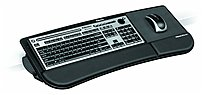 """Fellowes Mfg. Co. Keyboard Manager, Tilt-N-Slide, Rubber Backing, BlackKeyboard Manager attaches to your desktop edge without tools, which allows the platform to tilt or slide with ease. Extended knee clearance keeps you comfortable while typing and mousing. Rubber backing keeps your mouse from sliding off the mousing platform. Single lever easily adjusts the tilt from flat to 30 degrees and the slide with a 4-5/8"""" travel distance). Ultra soft memory foam wrist support delivers comfort and features Microban antimicrobial protection that keeps the Keyboard Manager cleaner. Large platform holds both a keyboard and mouse (both sold separately)."""