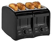 Hamilton Beach Smart Toast 040094241217 24121 4-Slice Toaster - Cool Touch - Crumb Tray - Black