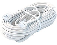 The Steren BL 324 025WH has 25 Feet cable length, 6 Wire Mod Telephone Cord.