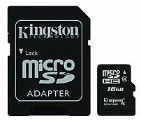 Image of Kingston SDC4/16GB 16 GB microSDHC Flash Card with SD Adapter - Class 4