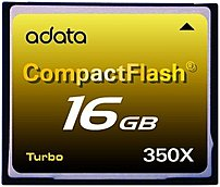 Image of Adata Turbo ACF16G350XC 16 GB 350X CompactFlash Card - 52 MBps Read - 47 MBps Write