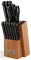 PureLife Ragalta PLKS2000 13-Piece Knife Block Set - Stainless Steel - Black