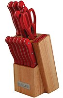 PureLife Ragalta PLKS-2111 13 Pieces Knife Block Set - Stainless Steel - Red
