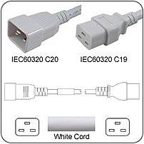 PowerFig PFC2012E36K 3 Feet AC Power Cord - 1 x IEC 60320 C20 Male Plug, 1 x IEC 60320 C19 Female Connector - White