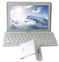 Samsung Galaxy Tab 2 GP-5113ZWNB Tablet PC Bundle with Bluetooth Keyboard and Desktop Dock - 1.0 GHz Dual-Core Processor - 1 GB RAM - 16 GB Storage - 10.1-inch Display - Android 4.1 Jelly Bean - White