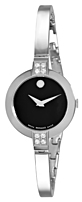 Movado Bela 0605855 Ladies Diamond Watch - Stainless Steel - Black Dial, Silver Band