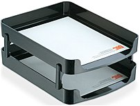The Officemate 2200 Series 22236 Front Load Tray with Supports holds letters, documents and folders
