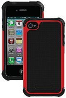 Ballistic Shell Gel Series SA0582-M355 Advanced 3-Layer Protection Case for Apple iPhone 4,4S - Red, Black
