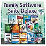 Family Software Suite Deluxe On DVD contains Corel Office, Family Tree Heritage, Professor Teaches Windows 8, PrintMaster Platinum, Video Studio X6, PagePlus X7, PhotoPlus X6, DrawPlus X6, WebPlus X6, Cook'n Recipe Organizer, Quicken Legal Business Pro 2014, Quicken WillMaker Plus 2014, SOS Online Backup, and Card Puzzle   Board Games.
