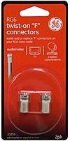 GE 33259 RG6 Twist-On F Connectors - 2 Pack
