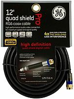 Ge 37653 12.0 Feet High Definition Quad Shield Rg6 Coaxial Cable