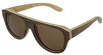 HF Eyewear SPEZIA Premium Eco Unisex Oversized Sapele Wood Flat Top Sunglasses -