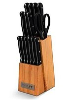 Pure Life 15pc Knife Block Set with Double Serrated Blades  br  br      ul   li Double serrated blades never need sharpening    li   li Solid rubber wood base