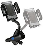 This universal charging mount for mobile devices features adjustable side clips that securely hold most mobile devices