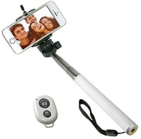 Take better pictures with the iCover IC SELFIE WH Selfie Stick, which comes with a Bluetooth remote compatible with most smartphones