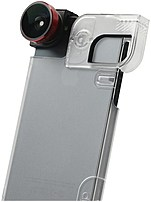 Olloclip  4-in-1 Fisheye/wideangle/macro Lens & Case Combo For Iphone 5/5s - Red Lens - Black Clip - Clear Case - Oceu-iph5-fw2m-rb-c