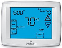 The Emerson Big Blue 1F95 1280 commercial touchscreen thermostat is a 7 day or 5 1 1 day programmable  or non programmable  thermostat that works with single stage, multi stage  2 heat 2 cool  and heat pump systems  4 heat 2 cool