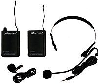 The AmpliVox S1601 Wireless UHF Lapel and Headset Microphone Kit include a lapel microphone with clothes clip, a headset microphone, a bodypack transmitter, and a bodypack receiver
