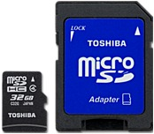 Toshiba Pfm032u-1dak 32 Gb Microsd High Capacity (microsdhc) With Adapter - Class 4 - 1 Card/1 Pack