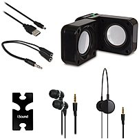 The iSound ISOUND 1614 5 in 1 Travel Sound Bundle is a portable audio bundle featuring a compact speaker, headphones, earbuds, earbud organizer and audio splitter