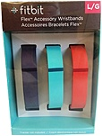 Fitbit Flex Fb401btnt Wristband Accessory Pack - Large - 3 Pack - Navy, Teal, Tangerine