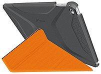 roocase RC-APL-AIR2-OG-SS-SG/OR Origami 3D Slim Shell Folio Case for iPad Air 2 - Space Gray/Orange