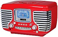Crosley Corsair Cr612 Desktop Clock Radio - 10 W Rms - Stereo - 2 X Alarm - Am, Fm - Cd Player Cr612-re