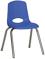 ECR4Kids ELR-0195-BLG 16-inch Stack Chair - 6 Pack - Chrome Legs - Blue