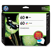 """P HP 60 combo pack includes standard inks  one HP 60 Black Ink Cartridge and one HP 60 Tri color Ink Cartridge   15 sheets of 5 x 7"""" Advanced Photo Paper  five 5"""" x 7"""" envelopes  and a project swatch book with creative photo ideas"""