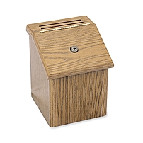 P Locking suggestion box invites confidential ideas and comments