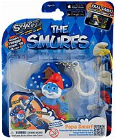 Swappz 628430122163 12216 The Smurfs - Papa Smurf Gaming Figure with Backpack Clip and Power-Up Coin