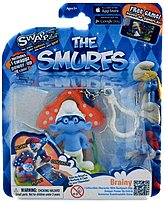 Swappz 628430122187 12218 The Smurfs - Brainy Gaming Figure with Backpack Clip and Power-Up Coin