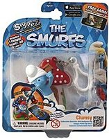 Swappz 628430122200 12220 The Smurf's - Clumsy Gaming Figure with Backpack Clip and Power-Up Coin