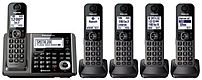 Panasonic Kx-tg585sk1 Dect 6.0 Answering Machine System With 5 Handsets - Black
