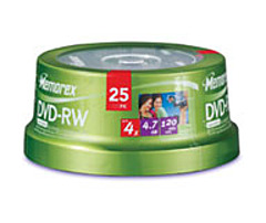 P Memorex offers a full line of DVD RW recordable blank media in slim jewel cases
