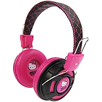 Hello Kitty Over The Ear, Foldable Stereo Headphones - Stereo - Pink - Mini-phone - Wired - Gold Plated - Over-the-head - Binaural - Circumaural - 5 Ft Cable Kt2091bp