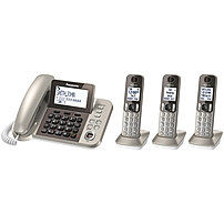 Panasonic Kx-tgf353n Dect 6.0 Cordless Phone - Champagne Gold - Corded/cordless - 1 X Phone Line - 3 X Handset - Speakerphone