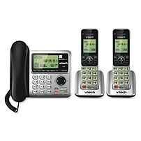 Vtech Cs6649-2 Dect 6.0 Expandable Corded/cordless Phone With Answering System And Caller Id/call Waiting, Silver/black With 2 Handsets - Cordless - 1 X Phone Line - 2 X Handset - Speakerphone - Answering Machine - Backlight
