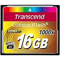Transcend Ultimate 16 Gb Compactflash - 160 Mb/s Read - 120 Mb/s Write - 1 Card - 1000x Memory Speed Ts16gcf1000