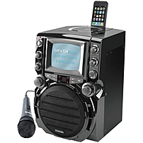 "Karaoke USA Portable CD G Karaoke System with 5.5"" B W Monitor"