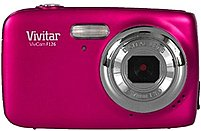 "The pink, Vivitar F126 Digital Camera features a 14.1 megapixel sensor for capturing high resolution digital images which can be played back on its 1.8"" LCD display"