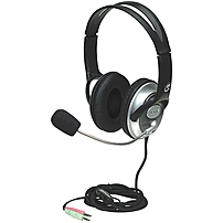 Manhattan Classic Stereo Headset With Flexible Microphone Boom - Adjustable In-line Volume Control 175555