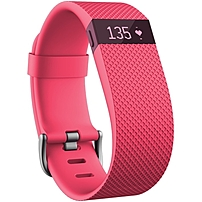 "Fitbit Chargehr Smart Band - Wrist - Optical Heart Rate Sensor - Silent Alarm, Alarm - Heart Rate, Sleep Quality, Calories Burned, Steps Taken, Distance Traveled - Bluetooth - Bluetooth 4.0 - 120 Hour - 0.83"" - Pink - Elastomer Buckle, Stainless Steel - S Fb405pks"