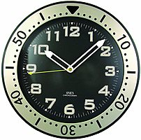 Timekeeper 515bb 12-inch Round Chronograph Design Wall Clock - Black Dial - Luminous Night Glow - Glass Cover - Quartz Movement