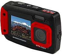 iON Cool-iCam Tough Waterproof Shockproof Digital Selfie Camera - 14 MP - 4x Optical - 2.7in Dual LCD Display - Red